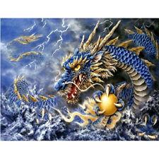 Blue Dragon &Yellow Ball Mosaic Painting Kit 40 x 30 cm like cross stitch