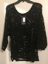 Crochet Wide  Neck 3/4 Sleeve Top By GITI  Color Black Size One Size NWT