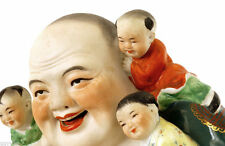 Chinese Famille Rose Bisque Porcelain Buddha Children Wealth Fertility