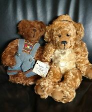 x2 MOHAIR TEDDY BEAR LOT GERMAN STUFFED ANIMAL DOLL HANDMADE 1997 GERMANY TOY