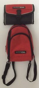Nintendo DS Padded Storage Vinyl Backpack Case & Vinyl Carry Pouch