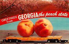 GEORGIA THE PEACH STATE PEACHES ON RAIL CAR VINTAGE POSTCARD