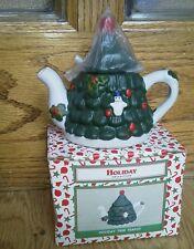 Holiday Christmas Tree Mini Teapot Red Ornaments Dark Green Snowman Lid NEW Box
