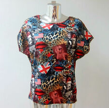Animal Print Short Sleeve Unbranded Machine Washable Tops & Blouses for Women