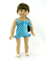"Teal Polka Dot Swimsuit Fits American girl dolls 18"" Doll Clothes Bathing Suit"