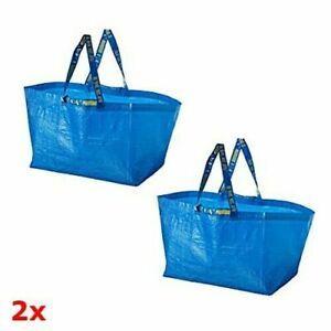 2x IKEA Frakta Large Blue Storage Carrier Bags Shopping Laundry Moving