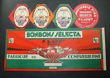 LOT 5 ETIQUETTES ANCIENNES BONBONS CONFISERIE SELECTA LAOUT SWEET OLD labels