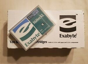Box of 10 Exabyte 307265 8mm D8 160m XL Helical Scan 7/14GB Data Cartridges NEW