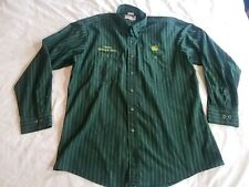 D5 Vtg John Deere dealership mechanic work shirt Sz L Green striped long sleeve