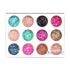 12 Color Nail Art Crushed Shell Glitter Gem Bead Powder Decor 3D Acrylic UV Tip