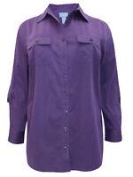 Liz & Me shirt blouse plus size 16/18 20/22 24/26 28/30 32/34 purple button up