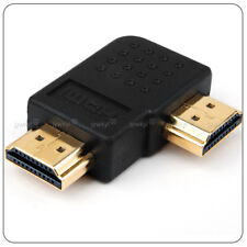 Adaptateur Connecteur Fiche HDMI A Mâle vers HDMI A Mâle / Plaqué Or Coudé 90°