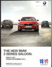 BMW 3-Series Saloon F30 Specification 2011-12 UK Market Brochure