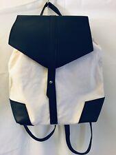 Deux Lux Backpack Handbag Bag Ivory Canvas Black Vegan Leather Straps