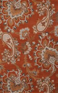 ORANGE Traditional Floral Oriental Area Rug Wool Hand-Tufted Wool 5x8 Carpet