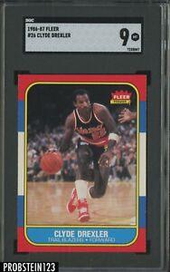 1986-87 Fleer Basketball #26 Clyde Drexler Trail Blazers RC Rookie HOF SGC 9
