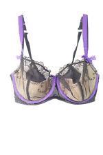 Cacique Bra 36DDD Full Coverage Lace RN 118641 Underwire Black Purple Womens