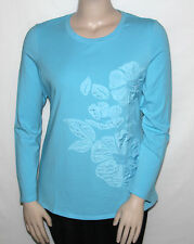 NEW Motto Size LARGE Lightweight Novelty Knit Shirt with Flower Detail BLUE