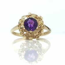 Stunning Vintage Amethyst Gold Fancy 1969 London 9ct Gold Ring Size N