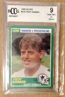 1989 Score Troy Aikman Rookie Card Graded BCCG 9