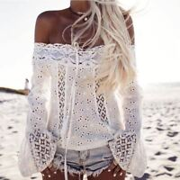 Women Blouses Sexy Off Shoulder Long Sleeve Lace Loose Blouse summer crop Tops C