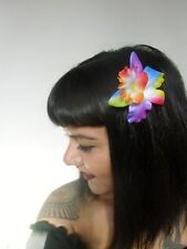 Pince clip cheveux fleur orchidée multicolore coiffure pin-up rétro rockabilly