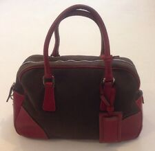 Vintage Prada Canvas and Leather Bowling Bag Handbag Rare