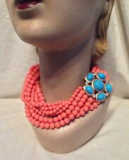 NEW Kenneth Jay Lane 8-strand Coral Bead, Turquoise Clasp Necklace