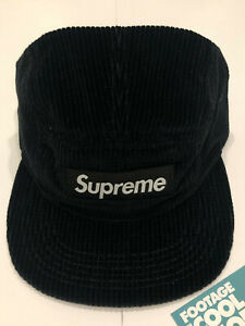 2018 SS18 SUPREME CORDUROY CAMP BOX LOGO HAT CAP LEATHER STRAP BLACK WHITE CDG