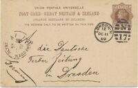 "GB 1889 QV 1d brown VF postcard barred Duplex-cancel ""LONDON-N / N / 17"" DRESDEN"