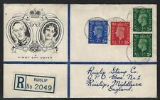 1937 Great Britain KGVI FDC - Scott #235-6 + 239 (SG #462-3 + 466) - ½d, 1d, 2½d