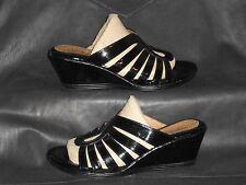 Eurosoft by Sofft women's black patent slide mule sandal shoes size Us 7 1/2M