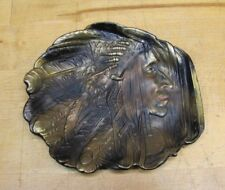 Antique NATIVE AMERICAN INDIAN Bronze Decorative Arts Tray Card Tip Ring Trinket
