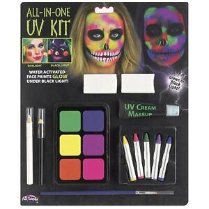 UV Black Light Cream Costume Makeup Skeleton Neon Glow Halloween Face Paint Kit