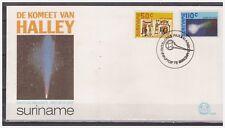 Surinam / Suriname 1986 FDC 102 Comet of Halley Komet Comete different postmark