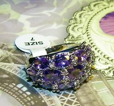 EXQUISITE AMETHYST AND SILVER RING - SIZE 7