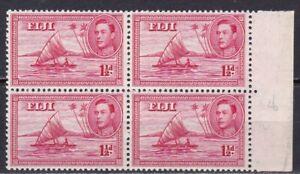 FIJI #132a MNH 1 1/2p ROSE CAR. BLOCK OF 4 (MAN IN CANOE)