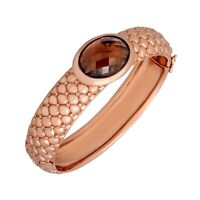 13 ct Smoky Quartz Bangle Bracelet in 18K Rose Gold-Plated Bronze