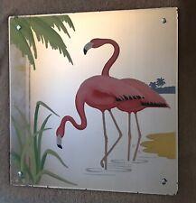 Vintage Pink Flamingo on Peach Glass Mirror - Pink, Black, Yellow, Green, 1950s
