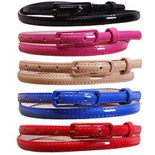Women Ladies Skinny Long Buckle Faux Leather Waist Belt Waistband NY061