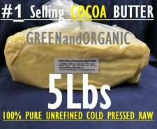 REAL CACAO/Cocoa Butter 100%Pure RAW Unrefined Organic FOOD GRADE 5Lb Cold Press