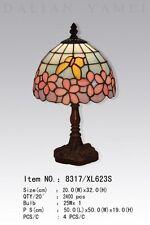 Tiffanylampe Tiffany Lampe rosa Blüten Himmel blau, Schmetterling gelb neu T100S