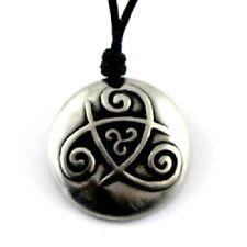 Irish Pewter Celtic Triskele of Existence Pendant on Adjustable Black Cord