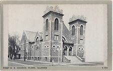 Illinois Ill Postcard Old FLORA First ME CHURCH Building