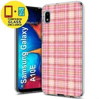 Gel Phone Case For Samsung Galaxy A10E,Plaid 04 Pattern Print,Tempered Glass
