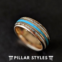 Rose Gold Ring Mens Wedding Band Deer Antler Ring - 8mm Mens Turquoise Ring