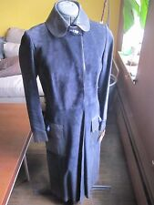 GUCCI Vintage Long Maxi Dark Blue Suede Lambskin Trench Coat Leopard Head 46 8