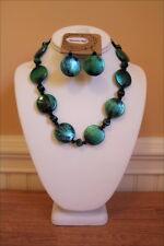 Teal Green Metallic Brushed Acrylic Beads Necklace & Earring Set