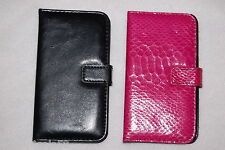 CELL PHONE WALLET CASE Samsung Galaxy S4 LOT Black Texture & Pink Mock Snakeskin