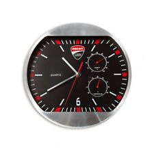 Ducati Corse Horloge Murale Montre Wall Horloge Thermomètre Noir Argent Neuf